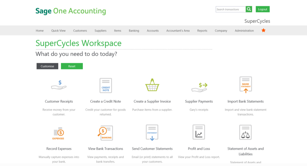 Sage One Online Accounting Software - Bank Integration