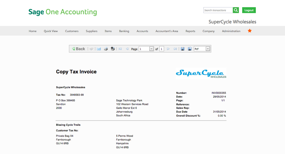 Sage One - Invoice Template