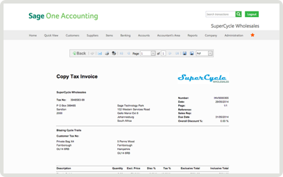 Sage One Online Accounting - Invoice Templates